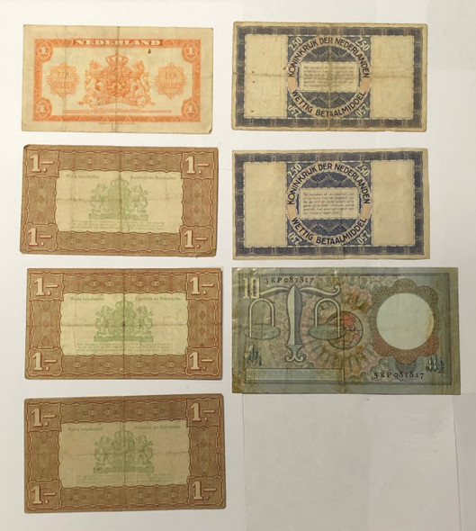 Netherlands: 1938 - 1953 Banknote Collection Lot (7 Pieces)