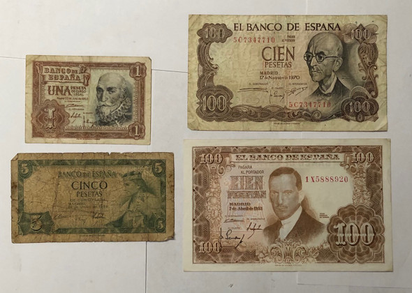 Spain: 1953 - 1970 Banknote Collection Lot (4 Pieces)