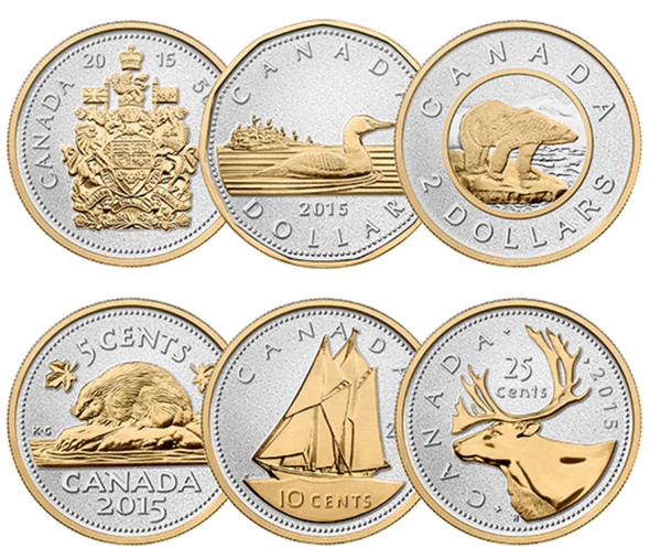 Canada: 2015 Big Coin Series: 5 Ounce Silver 6 Coin Set