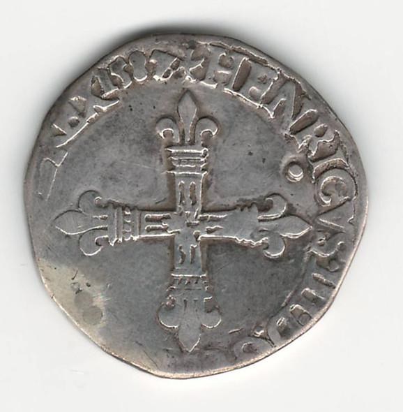 France: 1587/6 Quart D'Ecu Silver Coin