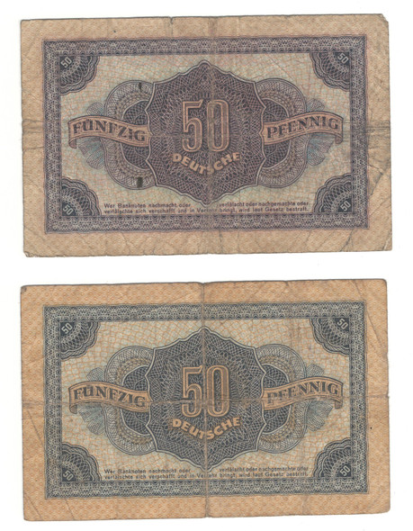 East Germany: 1948 50 Pfenning Banknote Collection Lot (2 Pieces)