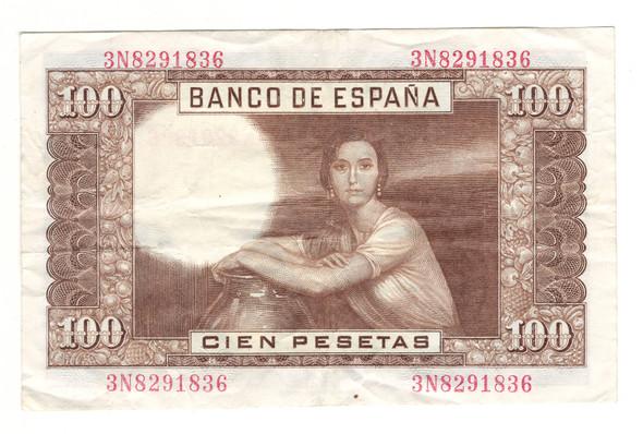 Spain: 1953 100 Pesetas Banknote Lot#2