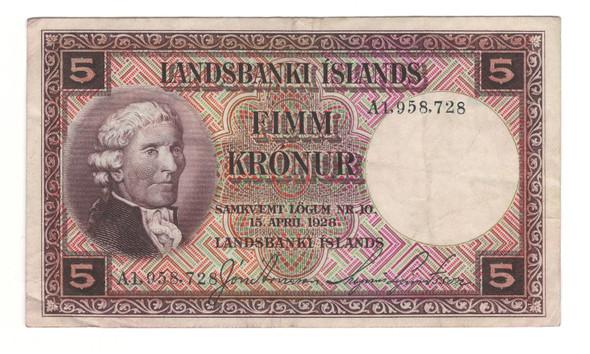Iceland: 1928 5 Kronur Banknote
