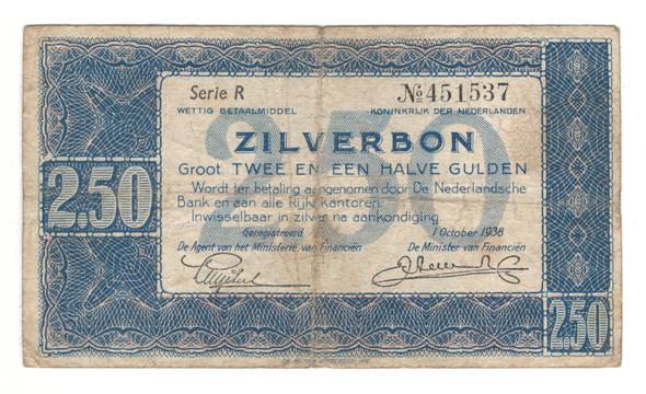Netherlands: 1938 Zilverbon 2.5 Gulden Banknote