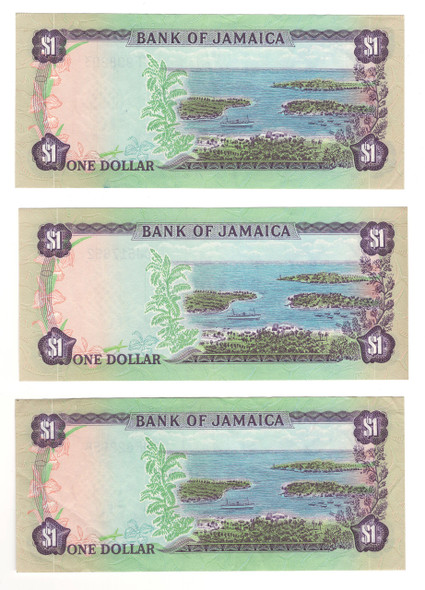 Jamaica: 1976 Dollar Banknote Collection Lot (3 Pieces) Lot#2