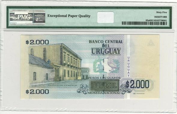 Uruguay: 2003 2000 Pesos Banknote P. 92a PMG 65 EPQ