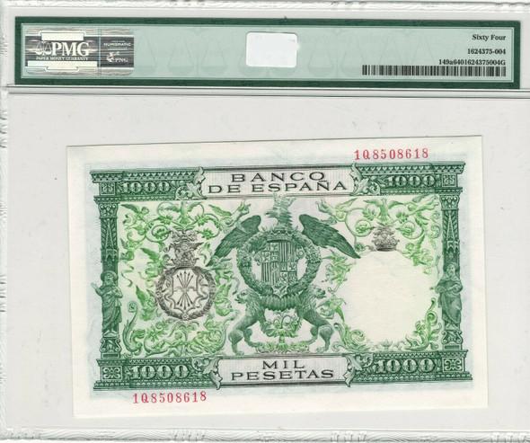 Spain: 1957 (ND 1958) 1000 Pesetas Banco de Espana Banknote P.149a PMG 64