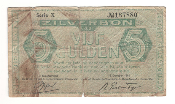 Netherlands: 1944 5 Gulden Banknote Lot#3