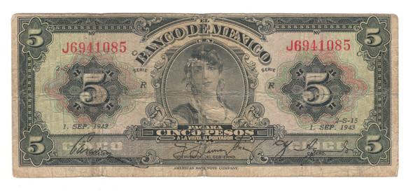 Mexico: 1943 5 Pesos Banknote