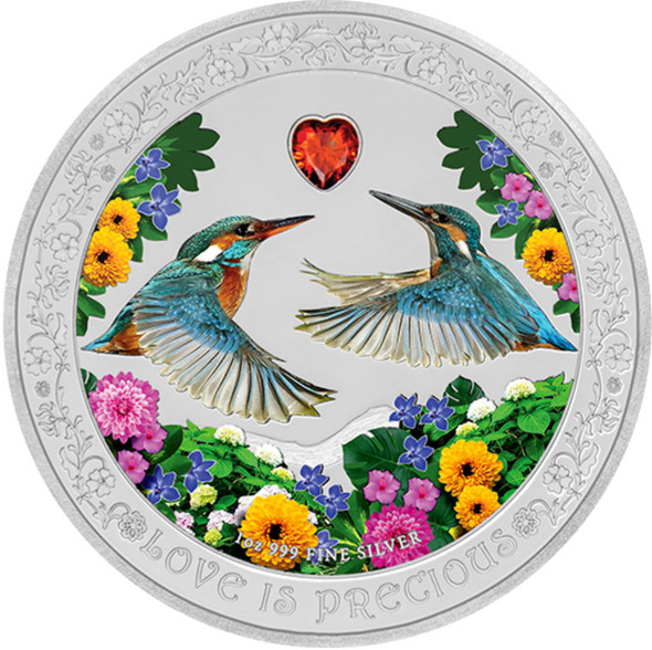 Niue: 2018 $2 Love is Precious: Kingfishers 1 oz Pure Silver Coin