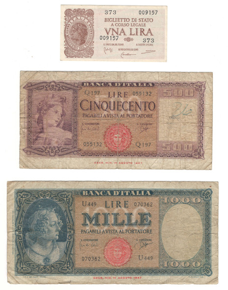 Italy: Banknote Collection Lot (3 Pieces)
