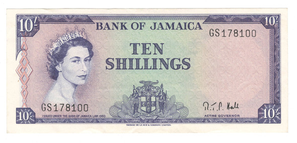 Jamaica: 1964 10 Shillings Banknote