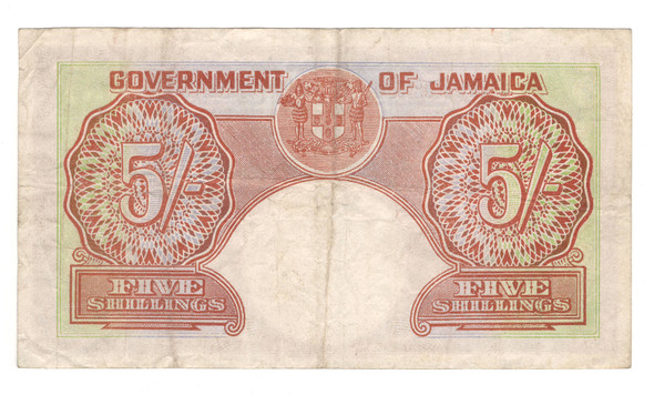 Jamaica: 1957 5 Shillings Banknote