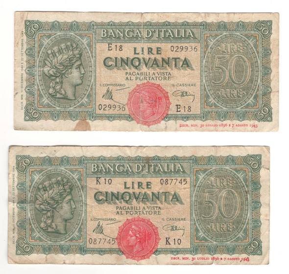 Italy: 1944 50 Lire Banknote Collection Lot (2 Pieces)