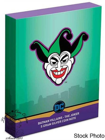 Niue: 2019 Batman Villains: The Joker 5 Gram Pure Silver Coin Note