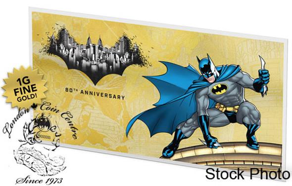 Niue: 2019 Batman 80th Anniversary 1 Gram Pure Gold Coin Note