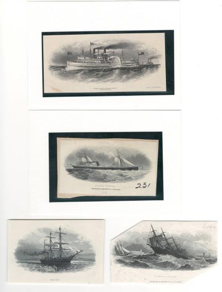 4 Steamship Related Die Proof Vignettes