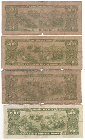 Brazil: No Date 200 Cruzeiros Banknote Collection Lot (4 Pieces)