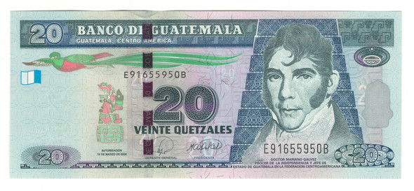 Guatemala: 2008 20 Quetzales Banknote P.118