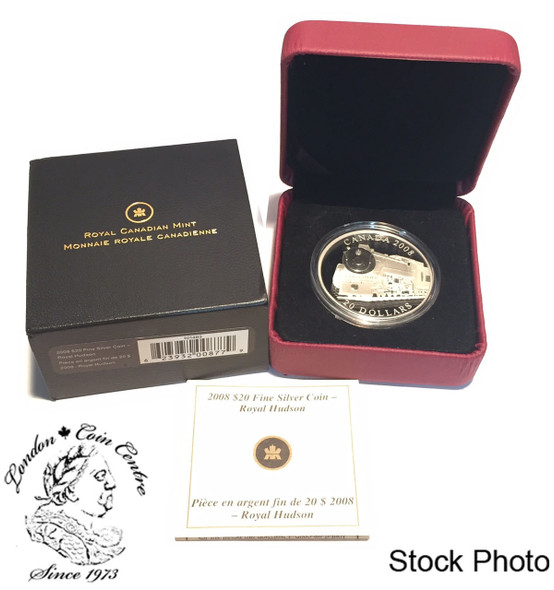 Canada: 2008 $20 The Royal Hudson Locomotive Silver Coin **Missing black sleeve**