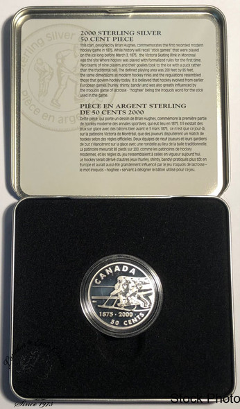 Canada: 2000 50 Cent First Modern Hockey Game Sterling Silver Coin