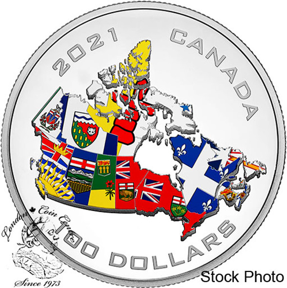 Canada: 2021 $100 Canada's Provincial and Territorial Flags 10 oz. Pure Silver Coin