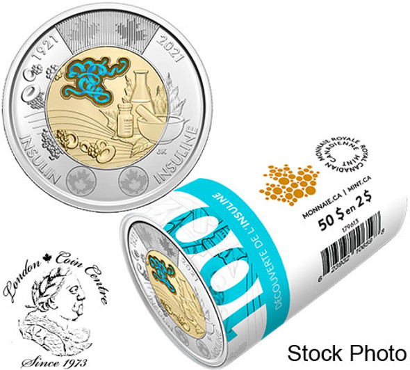 Canada: 2021 $2 Discovery of Insulin Toonie Special Wrap Roll with Coloured Coins
