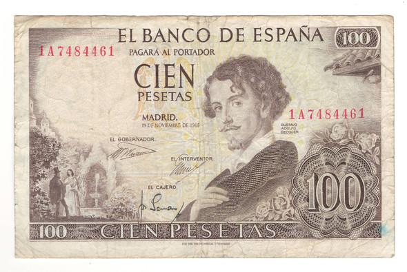 Spain: 1965 100 Pesetas Banknote
