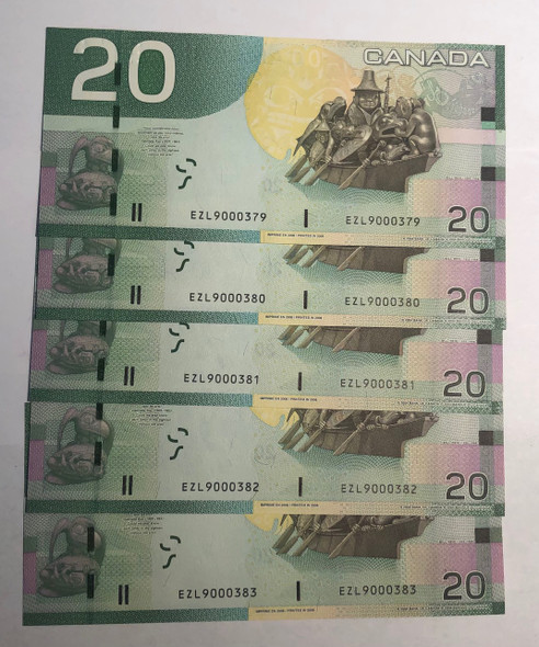 Canada: 2006 $20 Banknotes Bank of Canada EZL *5 Notes Consecutive In Sequence* Lot#2