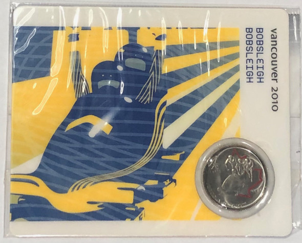 Canada: 2008 25 Cent Vancouver Olympics Bobsleigh Sport Card with Coin