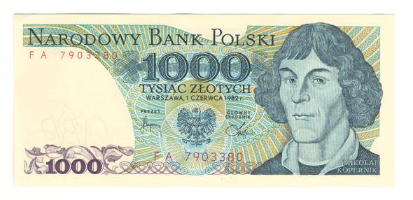 Poland: 1982 1000 Zlotych Banknote