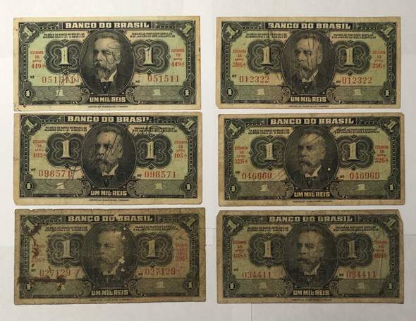 Brazil: 1944 1 Mil Reis Banknote Collection Lot (6 Pieces)
