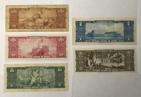 Brazil: 1953 - 1963 Banknote Collection Lot (5 Pieces)