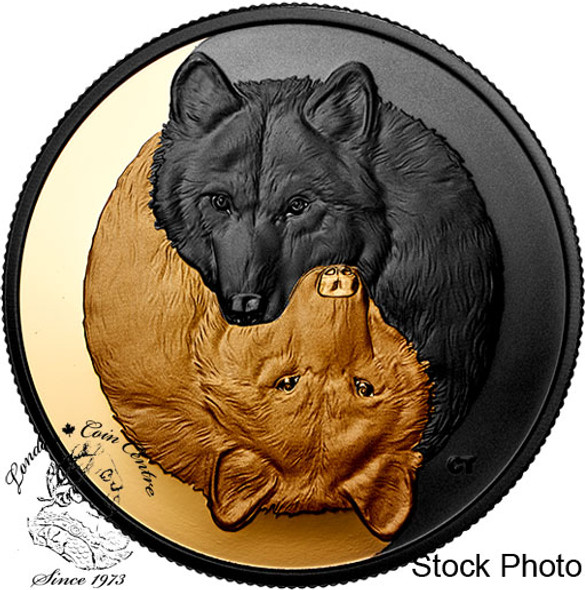 Canada: 2021 $20 Black and Gold: The Grey Wolf Pure Silver Coin