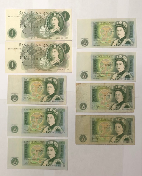 Great Britain: 1 Pound Banknote Collection Lot (9 Pieces)