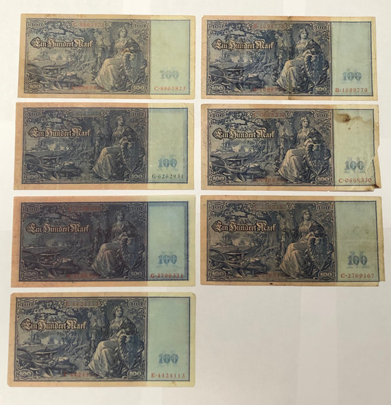 Germany: 1910 100 Mark Banknote Collection Lot (7 Pieces)