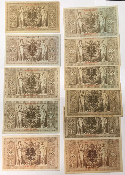 Germany: 1910 1000 Mark Banknote Collection Lot (11 Pieces)