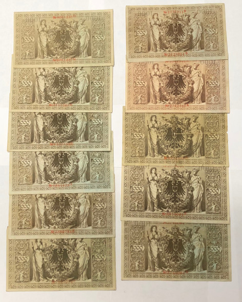 Germany: 1910 1000 Mark Banknote Collection Lot (11 Pieces) Lot#2