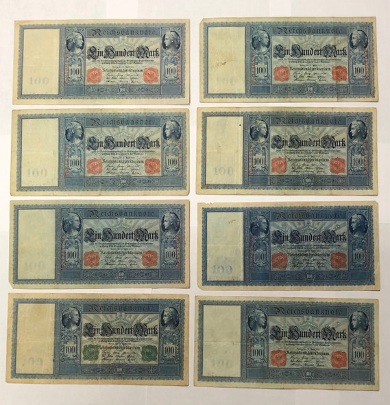 Germany: 1910 100 Mark Banknote Collection Lot (8 Pieces)
