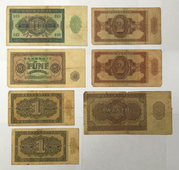 East Germany: 1948 Banknote Collection Lot (7 Pieces)
