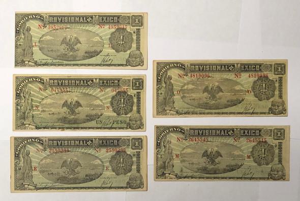 Mexico: 1916 1 Peso Banknote Collection Lot (5 Pieces)