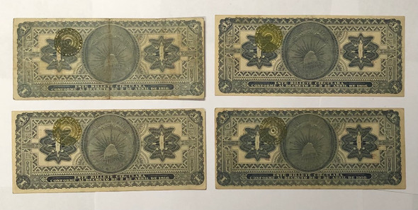 Mexico: 1916 1 Peso Banknote Collection Lot (4 Pieces)