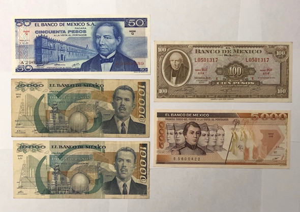 Mexico: Banknote Collection Lot (5 Pieces)