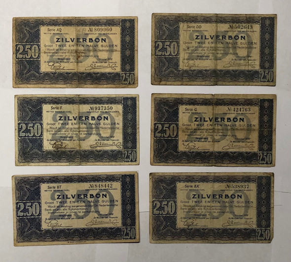 Netherlands: 1938 2 1/2 Gulden Banknote Collection Lot (6 Pieces)