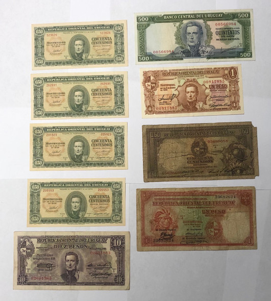 Uruguay: Banknote Collection Lot (9 Pieces)