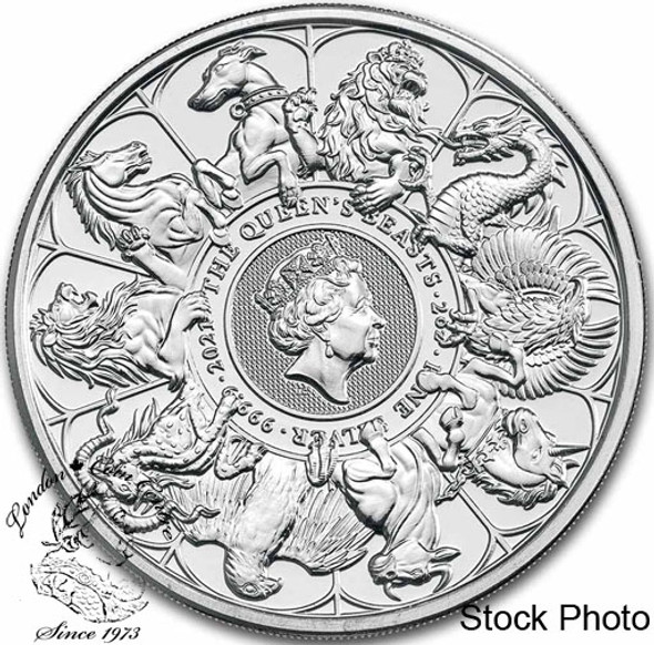 Great Britain: 2021 5 Pounds Queen's Beast Completer 2 oz Pure Silver Coin