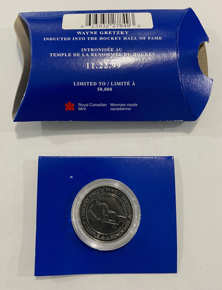 1999 Hockey Hall of Fame Wayne Gretzky Medallion in Blue Package