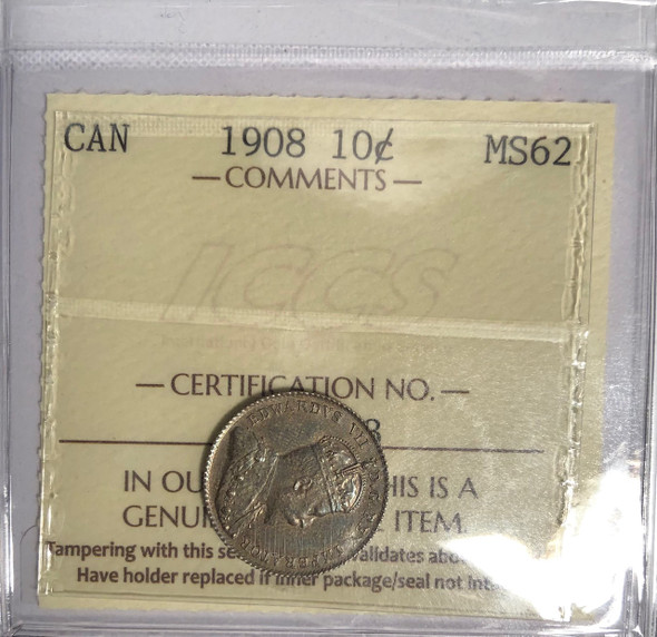 Canada: 1908 10 Cents ICCS MS62