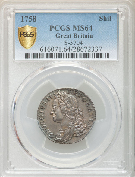 Great Britain: 1758 Shilling PCGS MS64