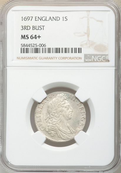 Great Britain: 1697 Shilling 3rd Bust NGC MS64+ Finest Known